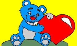 juego Pintar oso con corazón