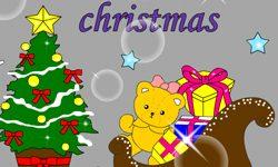 juego Colorear joven con su arbol de navidad