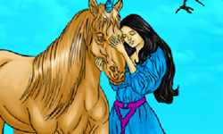Jugar Colorear princesa con caballo