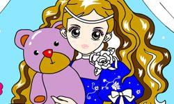 juego Colorear a princesa con su peluche