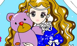 Jugar Colorear a princesa con su peluche