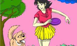 juego Colorear Chica con su Perro